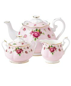 Royal Albert Old Country Roses Pink Vintage 3 Piece Tea Set - Fine China - Dining & Entertaining - Macy's
