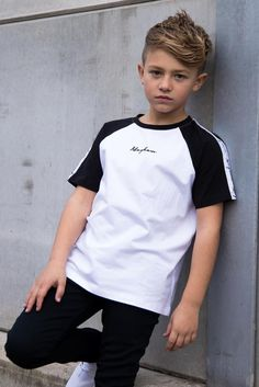 Relaxed Fit Cut and sew panel across chest Contrast white stripe across the chest Mayhem signature embroidery in the centre cotton elastane Model is 9 years old, and wearing size Young Boys Fashion, Teen Boy Fashion, Cute Kids Fashion, Toddler Fashion, Boys Summer Outfits, Little Boy Outfits, Kids Outfits, Boys Clothes Style, Cheap Kids Clothes