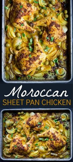 Morrocan Sheet Pan Chicken: Enjoy the flavors of Morocco with richly spiced chicken, savory onions, and tangy olives. Using just one small bowl and a baking sheet, this Moroccan Sheet Pan Chicken is just as easy to clean up as it is to prepare! Morrocan Food, Moroccan Dishes, Sheet Pan Suppers, Brunch, Chicken Spices, Tumeric Chicken, One Pan Chicken, Chicken Potatoes, Chicken Legs