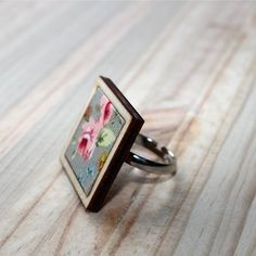 Kosbaar | Square Ring | Timber & fabric inlay | Grey background with pink floral pattern | Handmade in Cape Town, South Africa Vintage Crockery, Square Rings, Porcelain Jewelry, Upcycled Vintage, Gray Background, Cape Town, South Africa, Handmade Jewelry, Grey