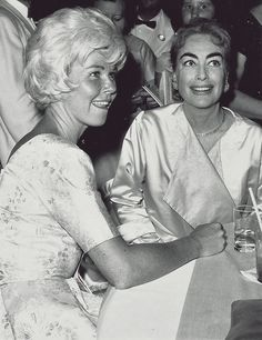 """Doris Day and Joan Crawford: This photo is from a magazine article in 1960 entitled """"Joan Crawford Tells Doris Day How to Save Her Marriage"""""""