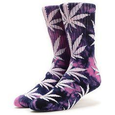 The HUF Plantlife Tie Dye Purple crew socks