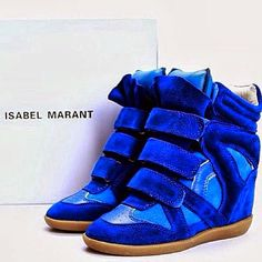 Isabel Marant Blue Bekett Sneakers in Suede Leather