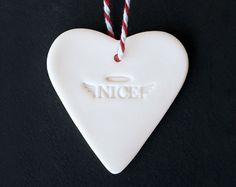 Porcelain Christmas ornament Nice heart shaped by cornishandslim