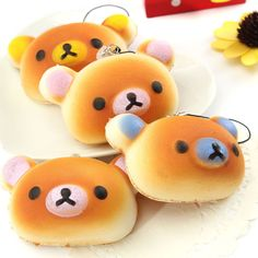 1x Adorable Cute Nose Bear Bread Squishy Cell Phone Charm Key bag Chain Strap