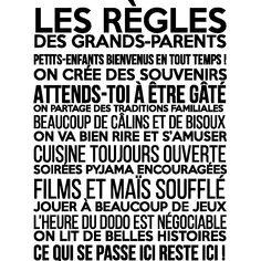 Décorez votre maison facilement avec ce sticker mural Les règles des grands-parents . Les stickers muraux avec citations ou phrases célèbres et spirituelles sont parfaites pour votre salon.