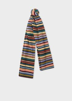 e8d6bb1952fa Front view - Men s Signature Stripe Wool And Cashmere-Blend Scarf Paul Smith  S Signature