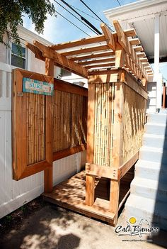 natural bamboo fencing shower