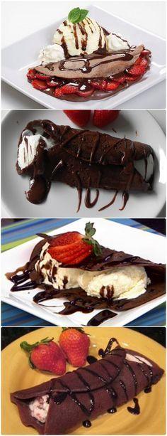 Crepe de chocolate recheado com sorvete Para preparar os crepes de chocolate, misture bem todos os ingredientes e bata-os durante uns 5 minutos, até que fique uma mistura suave. #receita#bolo#torta#doce#sobremesa#aniversario#pudim#mousse#pave#Cheesecake#chocolate#confeitaria