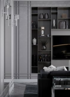 living room, kitchen, design interior, vizualization, гостиная, дизайн гостиной, кухня, дизайн кухни, luxury interior, black, beige, appartement, american classic interior, neoclassic, современная классика, американская классика, неоклассика, черный, бежевый, полки, тв стенка, shelf, dinning room, обеденная зона