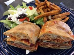 Stromboli with fries and Greek salad Foodspotting at Beyond Food