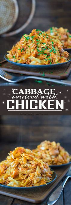 Succulent cabbage sauteed with tender chicken and vegetables. Just a few ingredients and about 15 minutes of active time make up this delicious dinner. This is my Best Recipe yet! â COOKTORIA. Cooking For Two, Easy Cooking, Healthy Cooking, Cooking Recipes, Healthy Recipes, Cooking Time, Paleo Meals, Drink Recipes, Healthy Food