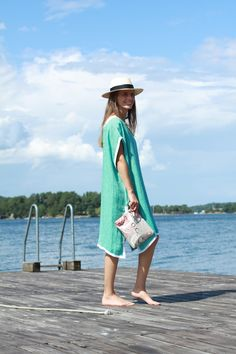 Rae Feather Jaquard Double Linen Kaftan, My Bags and Me My Things Wetbag, La Portegna Panama Hat.jpg