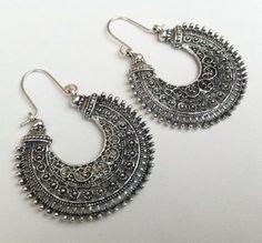 Tribal Statement Earrings Silver Earrings Large by AzureAllure More