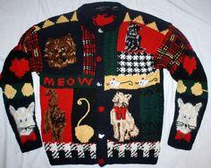 Ugliest Ugly Christmas Party Sweater Meoww Tacky Crazy Kittens Doggies Mice   eBay