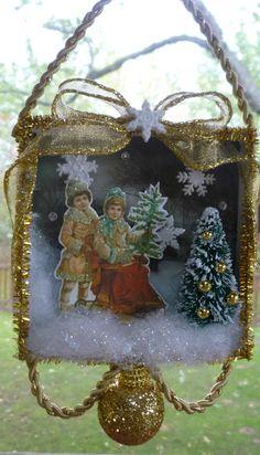 Victorian Children on a Sleigh Christmas Shadowbox Ornament