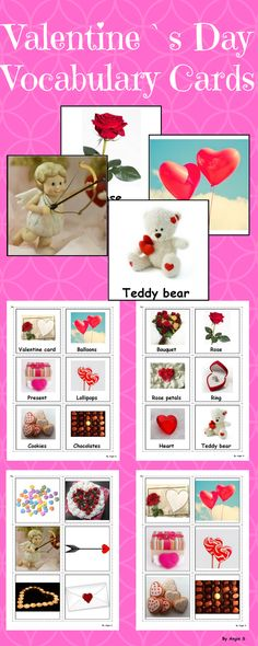 Valentine`s Day Vocabulary Photo Flashcards for different games and activities. These printables are great for students with autism, Pre-K, K, and Preschool. #valentinesday #vocabulary  #eslcards #esl #autism For more resources follow https://www.pinterest.com/angelajuvic/autism-and-special-education-resources-angie-s-tpt/