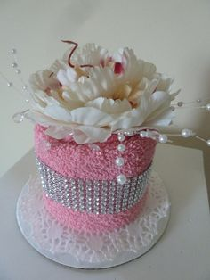 In the Pink Mini Towel Cake by CakeAByeBaby on Etsy, $30.00
