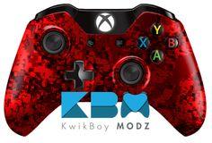 Red Digital Camo Xbox One Controller - KwikBoy Modz | Custom Controllers & Mods