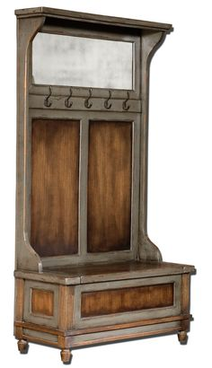 - Description - Dimensions - More Info Honey Stained, Solid Mango Wood With Hand Painted, Distressed Charcoal Gray Accents, Aged Brass Coat Hooks And Antiqued Mirror. Seat Lifts With Safety Hinge For