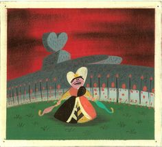 Concept by Mary Blair of Queen of Hearts with Flamingos from Alice in Wonderland