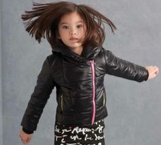 Kate Mack Black Moto Polyfill ``Outerwear Essentials`` Hooded Coat ``PREORDER``
