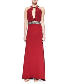 Beaded Halter-Neck & Waist Gown by Carmen Marc Valvo at Neiman Marcus.