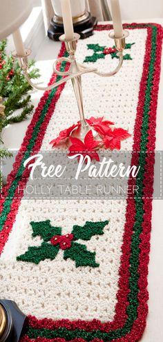 Popular Ideas For Crochet Christmas Table Runner Free Pattern Holiday Crochet, Crochet Home, Crochet Gifts, Diy Crochet, Irish Crochet, Beginner Crochet, Crochet Ideas, Crochet Baby, Crochet Table Runner Pattern