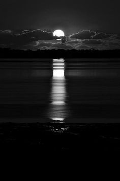 photography black and white - moon over water at night