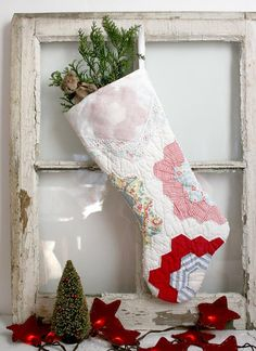 quilted christmas stockings | Country Christmas Stocking from Vintage Quilt chenille white country ...
