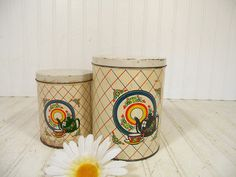 Antique Shabby Set of Colorful Litho Metal Canisters - Vintage Kitchen Tins with Lids - Well Used Coffee & Tea Containers for Cottage Decor $19.00 by DivineOrders on Etsy