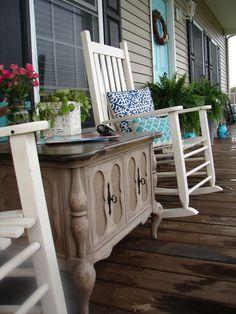 Fancy Buffet on the Porch!  Inspiring Porch Design Ideas