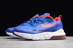 Kids Nike Air Max 270 React Royal Blue Red-White CD2655-009  SIZE AVAILABLE: US11C=UK10.5C=EUR28=17CM US12C=UK11.5C=EUR29=18CM US13C=UK12.5C=EUR31=19CM US1.0Y=UK13C=EUR32=20CM US2.0Y=UK1.0Y=EUR33=21CM US2.5Y=UK1.5Y=EUR34=21.5CM US3.0Y=UK2.0Y=EUR35=22CM  Tags: Kid's Nike Shoes, Air Max 270, Kids Air Max 270 Model: NIKEAIRMAX270-CD2655-009 5 Units in Stock Manufactured by: NIKEAIRMAX270 Air Max Sneakers, Sneakers Nike, Air Max 270, Royal Blue, Nike Air Max, Nike Shoes, Red And White, Air Jordans, Kids