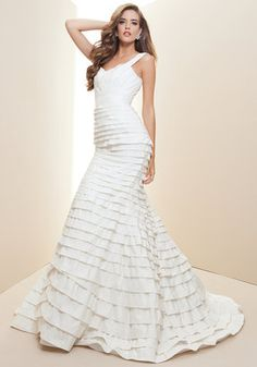 ShopStyle: Rami KashouLayered Silk Taffeta Bridal Gown