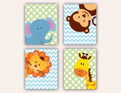 Jungle Animal Nursery Instant Download Print Set - 8x10 Elephant Monkey Giraffe Lion Kids Bedroom Art, Chevron and Polka Dot