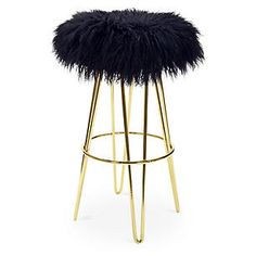 Curly Hairpin Barstool, Gold/Black