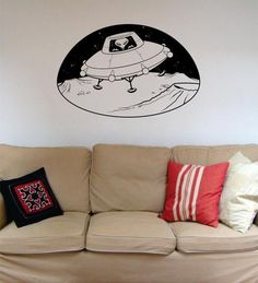 Alien in UFO Space Scene Decal Sticker Wall Vinyl Art Home Room Decor