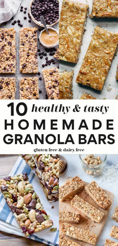 Make any of these 10 delicious and healthy homemade granola bar recipes that are gluten free and dairy free (and many are vegan too! Perfect for a quick healthy snack for kids and adults alike! Dairy Free Granola Bars, Vegan Granola Bars, Granola Bars Peanut Butter, No Bake Granola Bars, Granola Bar Recipes, Healthy Muesli Bar Recipe, Granola Bar Recipe Easy, Healthy Homemade Snacks, Healthy Bars