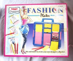 SOLD. Listed 24th November 2013 for 7 days. Vintage early 90s Tomy Fashion Plates, boxed and complete. Hardly used. Retro fashions with the 80s influence. Collector's Item. Start price £9.99