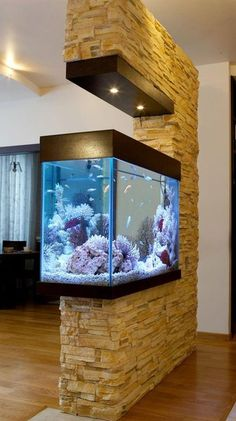 42 Astonishing Aquarium Design Ideas For Indoor Decorations - An aquarium is an enclosure with at least one clear side that houses water-dwelling fish, plants and other livestock and decorations. An aquarium offe. Aquarium Design, Aquarium Setup, Aquarium Fish, Aquarium In Wall, Aquarium Ideas, Diy Aquarium Stand, Living Room Partition Design, Room Partition Designs, Partition Ideas