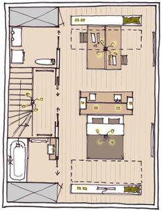 Furnishing the attic: sleeping, working or playing? Attic Bedrooms, Bedroom Loft, Facade Design, House Design, Studio App, Cedar Homes, Attic Spaces, Attic Remodel, Studio Apartment