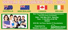 A World Education fair is organizing by Western Overseas in Kurukshetra. Top colleges and universities representative will come there. So it's a great and valuable opportunity for students, who want to study in abroad. So meet them and caught the knowledge about college's fees structure, locality and visa processing.