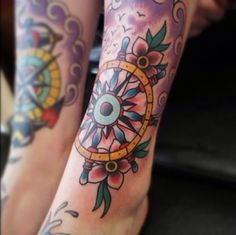 """This tattoo picture """"Leg tattoo"""" is one of many tattoo ideas listed in the Leg Tattoos category. Feel free to browse other tattoo ideas in the related or Top Tattoos, Life Tattoos, Body Art Tattoos, Tatoos, Ship Wheel Tattoo, Oldschool Tattoos, Traditional Tattoo Flash, Traditional Ink, American Traditional"""