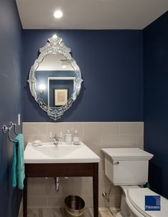 navy bath (ben moore van deusen blue) - thinking of this color for my master