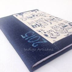 A5 denim and indigo blue cat print covered 2015 by IndigoArtisans