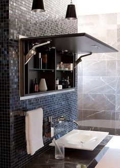 BAÑOS A mirrored vanity panel that opens up to hidden shelves recessed into the tiled wall ~ a very clever solution to limited storage space in a bathroom fabulous Hidden Shelf, Hidden Storage, Secret Storage, Hidden Doors, Wall Storage, Extra Storage, Bad Inspiration, Bathroom Inspiration, Bathroom Ideas
