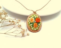 Allium hand embroidered necklace purple floral by ConeBomBom