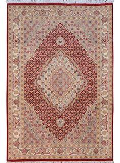 "Deep Red Persian Tabriz Rug 4' x 6' 1"" (ft) - No. 14451 http://alrug.com/deep-red-persian-tabriz-rug-4-x-6-1-ft-no-14451.html"