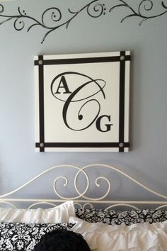 Monogram canvas for a teens room.