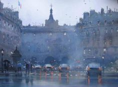 "Joseph Zbukvic (born 1978) "" Wet Day"".  Watercolor on paper."